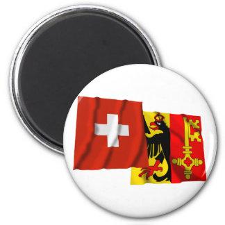 Switzerland Geneva Waving Flags Fridge Magnet