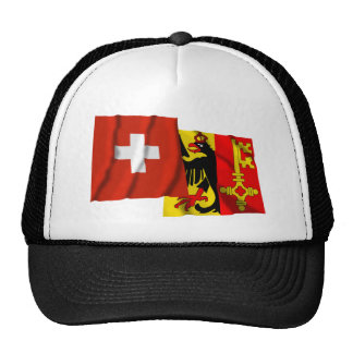 Switzerland & Geneva Waving Flags Trucker Hat