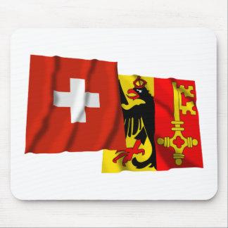 Switzerland Geneva Waving Flags Mouse Mat