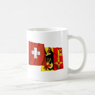 Switzerland & Geneva Waving Flags Coffee Mug