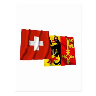 Switzerland & Geneva Waving Flags Postcard
