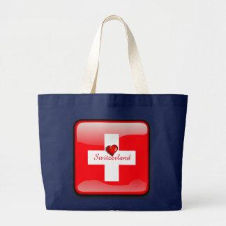Switzerland glossy flag large tote bag