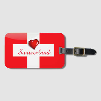 Switzerland glossy flag luggage tag