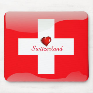 Switzerland glossy flag mouse mat