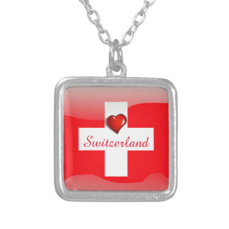 Switzerland glossy flag silver plated necklace