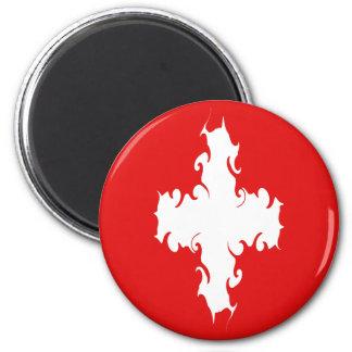 Switzerland Gnarly Flag 6 Cm Round Magnet