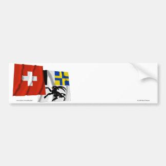 Switzerland & Graubuenden Waving Flags Bumper Sticker