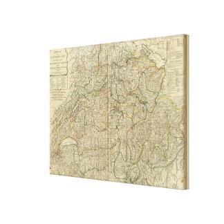 Switzerland Hand colored Atlas map Canvas Print