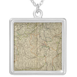 Switzerland Hand colored Atlas map Silver Plated Necklace