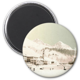 Switzerland in winter 6 cm round magnet