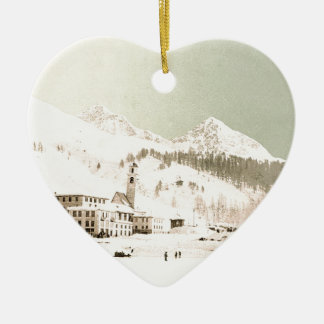Switzerland in winter christmas ornament