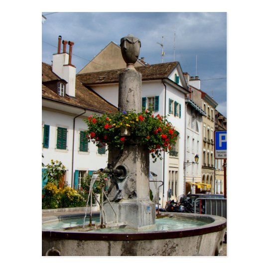 Switzerland, Lake Geneva, Nyon, Fountain Postcard