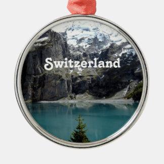 Switzerland Landscape Silver-Colored Round Decoration