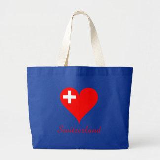 Switzerland love heart large tote bag