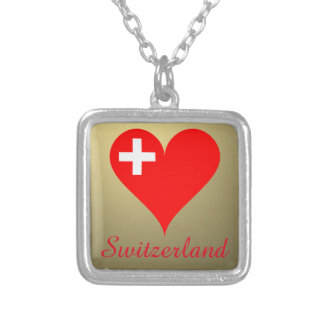 Switzerland love heart silver plated necklace