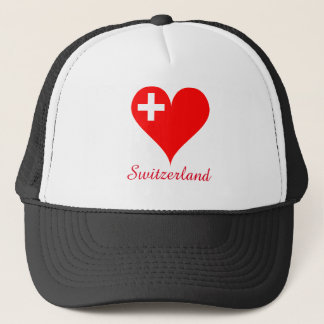 Switzerland love heart trucker hat