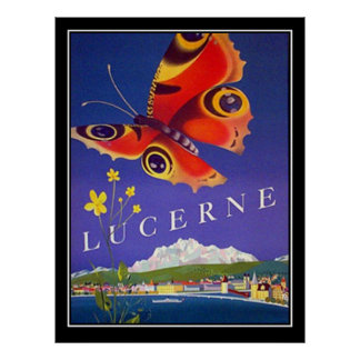 Switzerland Lucerne Travel Vintage poster