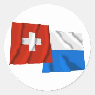 Switzerland & Lucerne Waving Flags Round Sticker