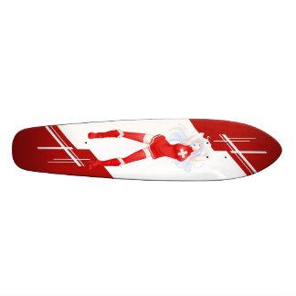 Switzerland Manga girl dressed in Flag - Swiss Skateboard