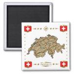 Switzerland Map + Flags Magnet