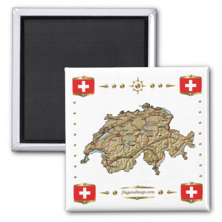 Switzerland Map + Flags Magnet