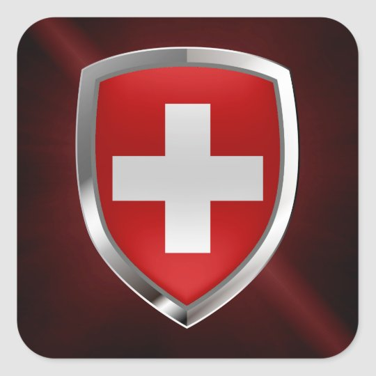 Switzerland Metallic Emblem Square Sticker
