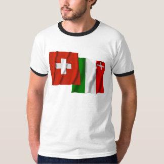Switzerland & Neuchatel Waving Flags T-Shirt