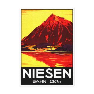 Switzerland Niesen Vintage Travel Poster Restored Canvas Print