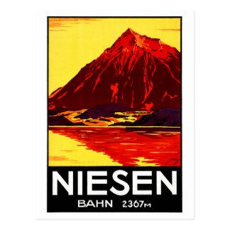 Switzerland Niesen Vintage Travel Poster Restored Postcard