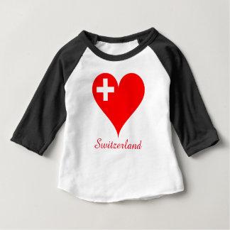 Switzerland red heart flag baby T-Shirt