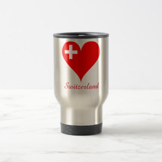 Switzerland red heart flag travel mug