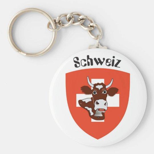 Switzerland Suisse Svizzera Svizra key supporter Basic Round Button Key Ring