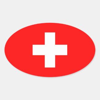 Switzerland - Swiss Flag Oval Sticker