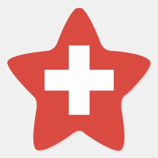 Switzerland/Swiss Flag Star Sticker