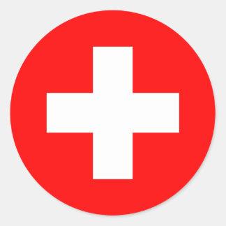 Switzerland - Swiss Flag Round Stickers