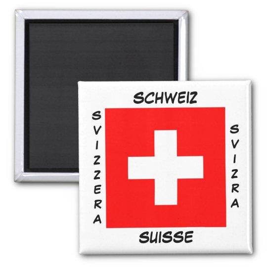 Switzerland Swiss Languages Flag Square Magnet