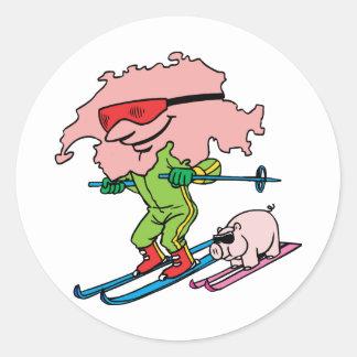 Switzerland Swiss Ski Vintage Travel Souvenir Classic Round Sticker