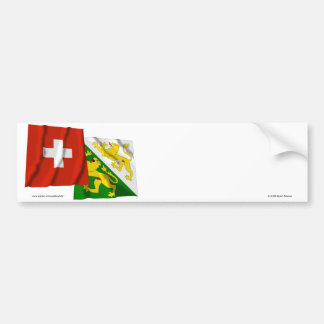 Switzerland & Thurgau Waving Flags Bumper Sticker