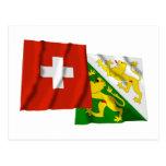 Switzerland & Thurgau Waving Flags Postcard