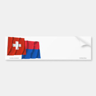 Switzerland & Ticino Waving Flags Bumper Sticker