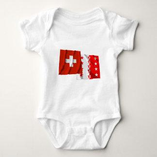 Switzerland & Valais Waving Flags Baby Bodysuit