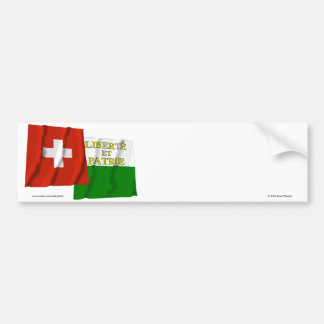 Switzerland & Vaud Waving Flags Bumper Sticker