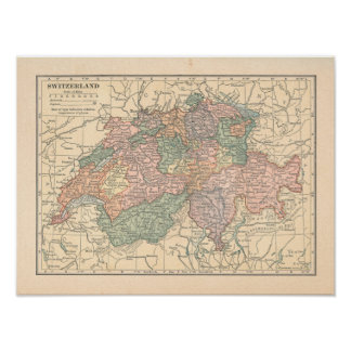 Switzerland Vintage 1923 Map print