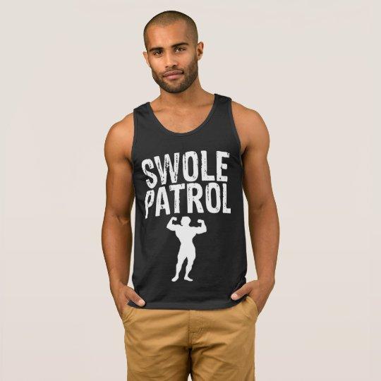 Swole Patrol White on Black men's tank top