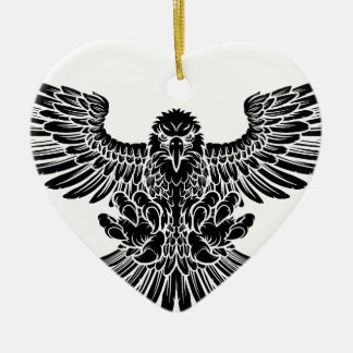 Swooping Eagle Ceramic Heart Decoration