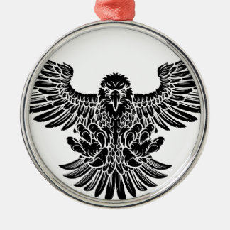 Swooping Eagle Silver-Colored Round Decoration