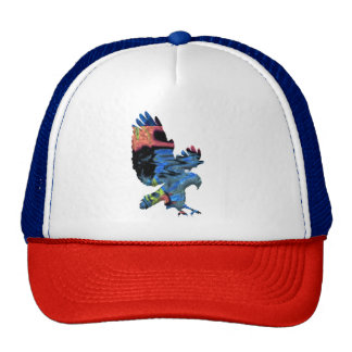 swooping hawk colorful hat cap design
