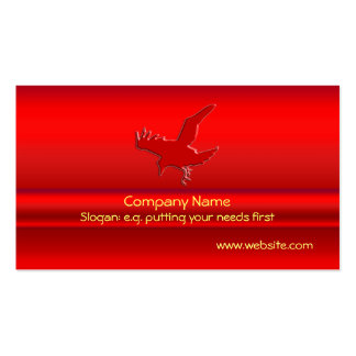 Swooping Red Raven on red metallic-look effect Pack Of Standard Business Cards