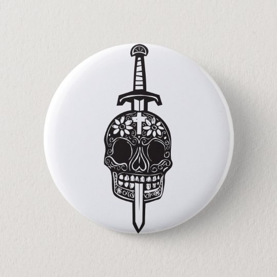 Sword and Day of Dead Skull 6 Cm Round Badge
