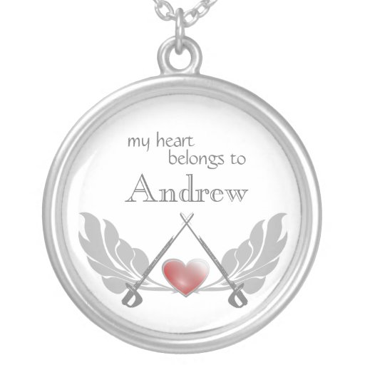 Sword and Heart Round Pendant Necklace